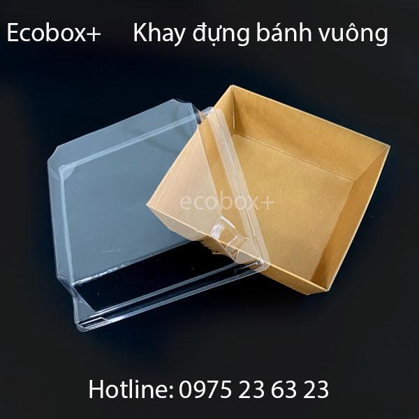 Khay giấy đựng bánh hình vuông